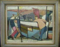 MARY-SWANZY-1882-1978-IRISH-CUBIST-OIL-THE-FISHING-BOAT Irish Art, Eclectic Style, Fishing Boats, Mary, Oil, Abstract, Burns, Artist, Electric