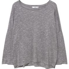 Fine-Knit T-Shirt ($13) ❤ liked on Polyvore featuring tops, t-shirts, shirts, sweaters, side slit top, extra long sleeve shirts, mango t shirt, round top and long sleeve shirts