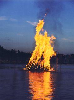 Traditional Midsummer Night Festival bonfire in Lappeenranta, Finland