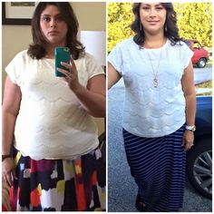 """""""I haven't lost anymore weight, which I am totally fine with, but I've lost more inches. I haven't been able to wear this skirt since the beginning of deputation 2 years ago. I'm wearing the same shirt in both pics. Almost 7 months on plan with over 30lbs and over 35 inches."""" - Anna S. www.TrimHealthyMama.com"""