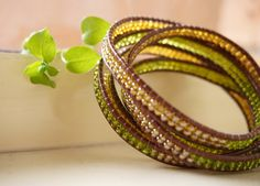 Bohemian Earthy Leaf Grass Green Golden Amber Seed Beaded Brown Leather 5x Wrap Bracelet, Boho Chic Nature Wrap Bracelet, Gift for Women by ByLEXY on Etsy