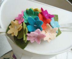Felt Flower Rainbow Hydrangea Headband by MapleSugarLane on Etsy, $7.95