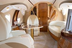 Advanced aircraft interior TZ-09 (Tupolev-134) by Alex Naboko, via Behance. Extremely cool design takes flying to a new high! (Sorry)