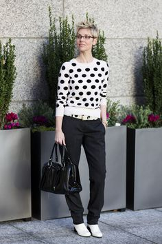 Cropped Jumper over Fluid Trousers