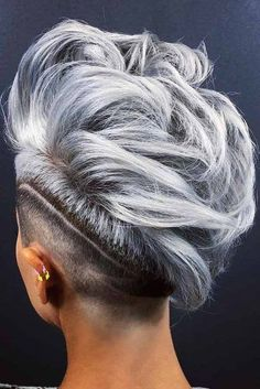 33 Short Grey Hair Cuts and Styles - Hair ColorMohawk With Shaved Stripe ❤ Are you looking for the most flattering short grey hair color ideas and styles? Check out our amazing collection to get Short Punk Hair, Short Hair Cuts, Short Grey Haircuts, Pixie Haircuts, Blonde Haircuts, Curly Hair Styles, Natural Hair Styles, Shaved Hair Designs, Hair Tattoos