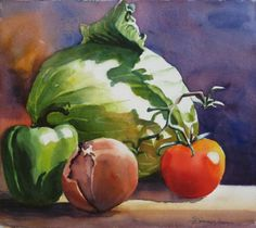 Watercolor Painting - Fresh Vegetables by Sue Zimmermann Vegetable Painting, Vegetable Prints, Watercolor Fruit, Watercolor Paintings, Watercolors, Veggie Art, Food Painting, Fruit Art, Fresh Vegetables