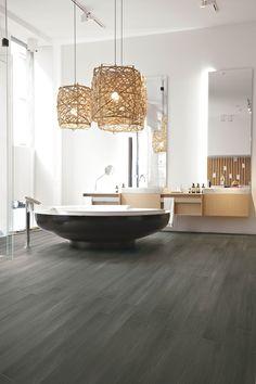 The Tile House: 5 Flooring Trends To Try For Yourself Barn Wood Bathroom, Rustic Bathroom Vanities, Bathroom Flooring, Bathroom Modern, Bathroom Ideas, Large Bathrooms, Chic Bathrooms, Amazing Bathrooms, Wood Wood