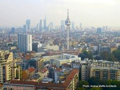 Arata Isozaki and Andrea Maffei. #Citylife Tower, #Milan, Italy, (2005/2011) - Scenic view of the #Skyline from the construction site, Oct. 2013
