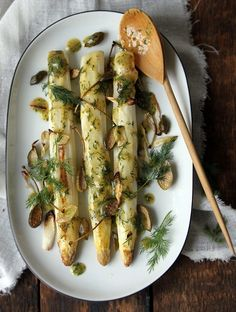 Roasted White Asparagus and Caper Berries  - bought a jar of caper berries for the heck of it. Here's a way to use them!