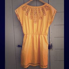 Charlotte Russe Yellow Sundress Stenciled patterned cut-out. Fantastic color. Mid-length skirt. Size M. Excellent used condition. Charlotte Russe Dresses