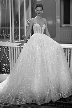 Berta silver embroidered A-line wedding dress, BERTA Spring 2016 Bridal Collection