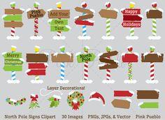 North Pole Or Santa's Workshop Signs Clipart and Vectors – PinkPueblo