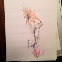 Watercolor tattoo flower lilly lily lys fleur