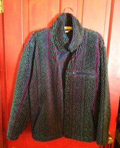Vintage L.L. Bean Aztec Fleece Zip Up Pullover Made In USA Women's Medium Reg