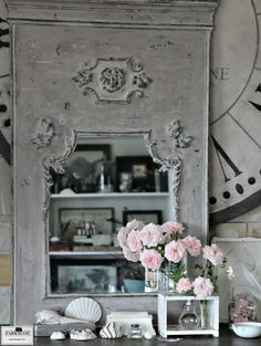 These are a few of my favourite things ~ Over-mantle Trumeau Mirror from the FARRAGOZ Patina FINISHES Course, oversized hand painted clock face, handmade moulds and ornaments, vintage laboratory equipment, antique silver boxes, feathers, sea shells, animal skulls and climbing roses.    FARRAGOZ `~ The Art of Patina. http://farragoz.com