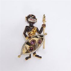 """<b>Coro Craft/Corocraft Sterling Vermeil Enameled African Tribal Man with Shield Figural Brooch Pin</b> H 3"""" x W 1 1/2"""""""