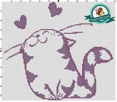 Zz Cross Stitch Love, Cross Stitch Charts, Cross Stitch Patterns, Crochet Cross, Crochet Yarn, Animal Original, Crochet Curtains, Cat Decor, Cat Pattern