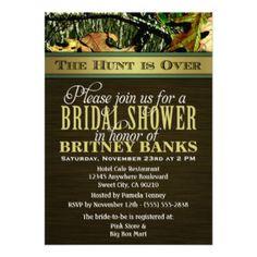 Brown Hunting Camo Bridal Shower Invitations