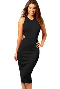 WIIPU womens Hollow out Midi Dress Knee-Length Slim Dress(J2-42) Was: $99.99 Now: $29.99