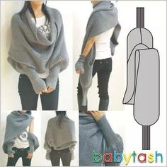 """Bufanda milusos """"not a shawl, cowl, mitts.yet all of the above -> like to crochet"""", """"Scarf wrap - scarf with sleeves"""", """"I know this is not a crochet Crochet Scarves, Crochet Shawl, Crochet Clothes, Knit Crochet, Knit Shrug, Tunisian Crochet, Capelet, Crochet Stitch, Creation Couture"""