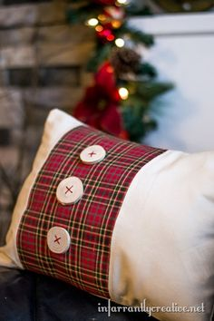 christmas pillow with wood buttons
