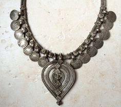 Ethnic silver necklace with amazing pendant from India at Bijoux Bizar