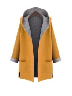 Hooded Patch Pocket Side-Vented Plus Size Coat | WithChic