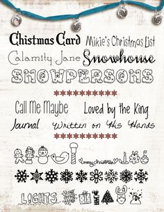 Winter/Christmas Fonts-- im going to try to make the bracelet at the top:-) Christmas Fonts, Winter Christmas, Christmas Desktop, Christmas Graphics, Holiday, Cute Fonts, Fancy Fonts, Schriften Download, Photoshop