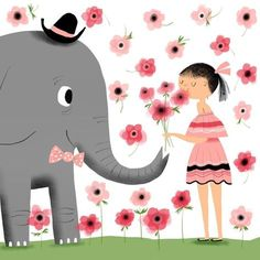 Elephant Gives Girl Flowers