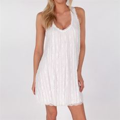 Free People Womens Contemporary Stripe Lace Swing Dress #VonMaur #FreePeople #Ivory #Lace #Pattern #ScoopNeck