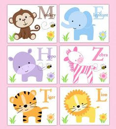 safari animals wall art prints for baby girl nursery decor six jungle animals with their matching alphabet letter name flowers and bees baby nursery cool bee animal rocking horse