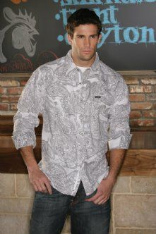 Mens Western Snap Shirts : White Paisley Shirt - Southern Thread On Line Store