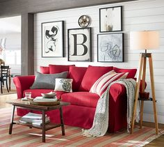 Unusual Article Uncovers the Deceptive Practices of Trendy Farmhouse Decor Living Room Wall Behind Couch Ideas - homemisuwur Red Couch Living Room, Red Living Room Decor, Burgundy Living Room, Silver Living Room, Living Area, Floor Lamp, Home Decor, Pottery Barn, Red Couches