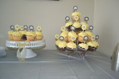 cupcake toppers yellow and grey