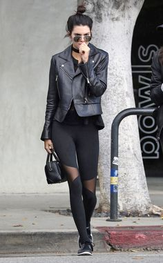 Kendall Jenner from The Big Picture: Today's Hot Pics  All black everything: The Estee Lauder beauty grabs coffee in Beverly Hills.