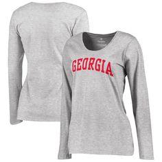 Georgia Bulldogs Women's Basic Arch Long Sleeve T-Shirt - Gray - $17.59