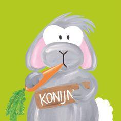 Kinderschilderijtje Beessie Konijn
