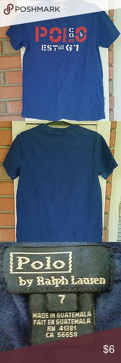 Royal blue Polo t shirt Size 7, 100%cotton. Turn garment inside out, machine wash cold,tumble dry low.6 Polo by Ralph Lauren Shirts & Tops Tees - Short Sleeve
