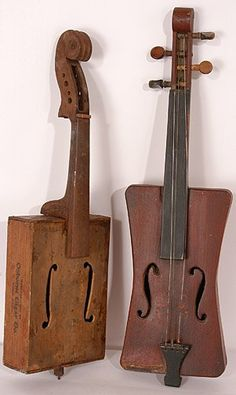 Pair of Handmade American Fiddles (one is made from a wooden cigar box)