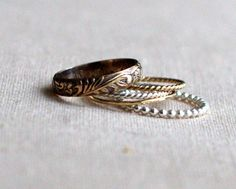 Romantic Antique 5 Stacking Ring Set Gold and by palefishny, $194.00