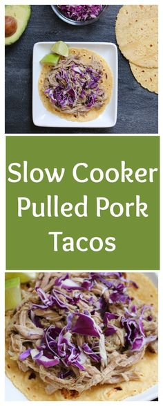 Pulled Pork Tacos are juicy, flavorful, and made with pantry staples. Top with your favorite taco toppings or skip the tortilla and serve on a bed of brown rice. to Mom Nutrition- Katie Serbinski, MS, RD Slow Cooker Desserts, Slow Cooker Recipes, Crockpot Recipes, Cooking Recipes, Delicious Recipes, Quick Healthy Meals, Healthy Snacks, Healthy Kids, Healthy Recipes