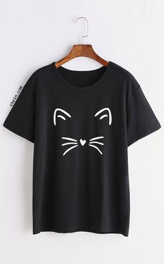 Black Cat Print T-shirt