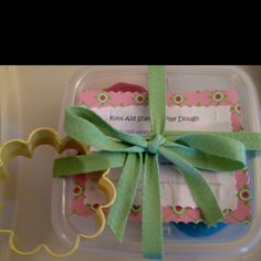 Kids party favor. Kool aid scented play dough, recipe and cookie cutter. Kids LOVED it! Way better than candy!