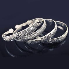 Tibetan Bangles - Vintage Silver