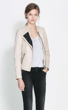 Fashion Color Patchwork Leather Zipper Jackets-$36.90 FREE SHIPPING