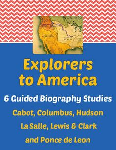 Explorers to America - Guided Biography Study Set of 6.  Each of the 6 studies is a 10 or 11-page activity for students to complete using a published biography of the subject. Answer key and CC standards included. All may be purchased individually in my store. $