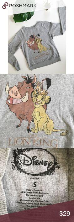 Disney The Lion King Crewneck Sweatshirt Top Cute The Lion King Disney crew neck sweatshirt! Thinner sweatshirt material. Good used condition. Disney Tops Sweatshirts & Hoodies