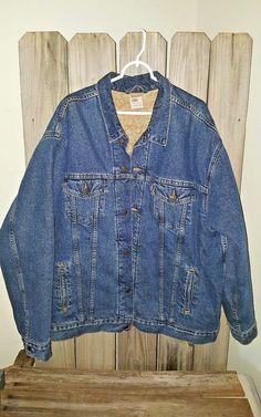 LEVIS Mens Blue Jean Denim Jacket 2X Large Red Tab Shearling Dry Goods #Levis #JeanJacket