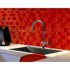 Smart Tiles 11.55 in. x 9.64 in. Peel and Stick Mosaic Decorative Tile Backsplash Tango Ruby in Orange and Red-SM1046-1 - The Home Depot