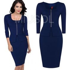 This dress is made from a fine blend of cotton,Lycra and polyester to give it that perfect bodycon fit that flatters and accentuates every lady\'s curves S Curves, Navy Blue Dresses, Red And Grey, Peplum Dress, Lady, Sleeves, Cotton, Fit, Fashion